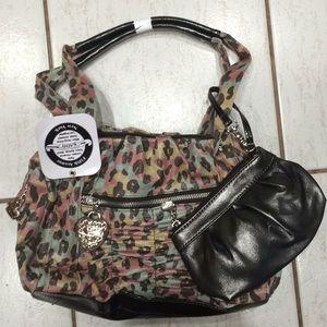 Colorful leopard faux leather handbag w wristlet